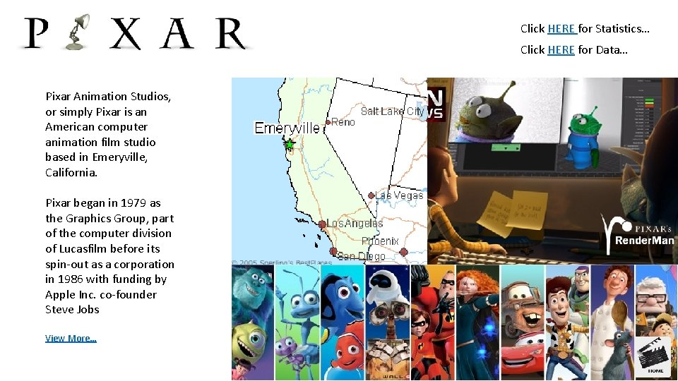 Click HERE for Statistics… Click HERE for Data… Pixar Animation Studios, or simply Pixar