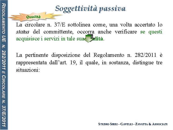 Soggettività passiva La circolare n. 37/E sottolinea come, una volta accertato lo status del