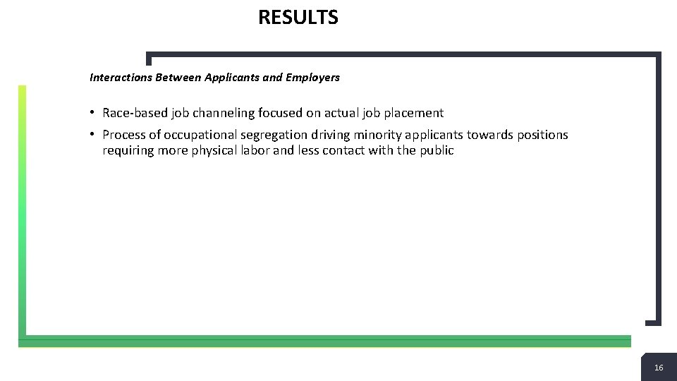 RESULTS Interactions Between Applicants and Employers • Race-based job channeling focused on actual job