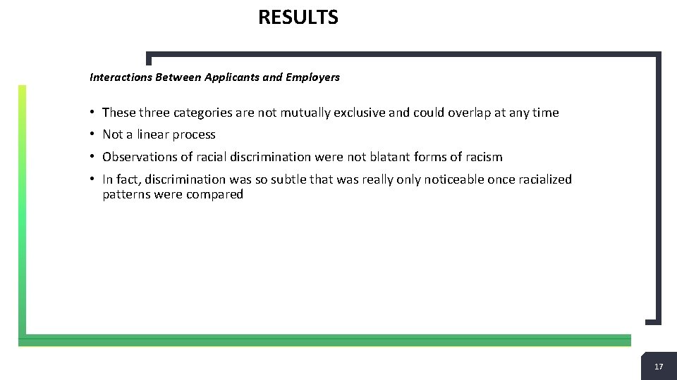RESULTS Interactions Between Applicants and Employers • These three categories are not mutually exclusive