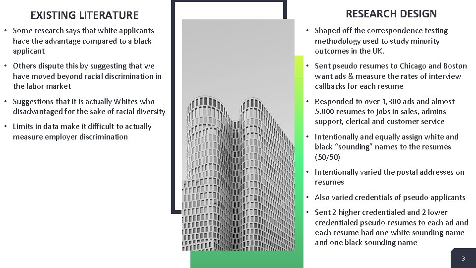 EXISTING LITERATURE RESEARCH DESIGN • Some research says that white applicants have the advantage