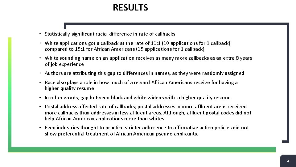 RESULTS • Statistically significant racial difference in rate of callbacks • White applications got