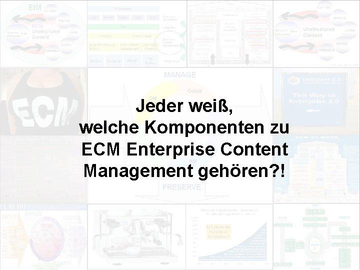 Jeder weiß, welche Komponenten zu ECM Enterprise Content Management gehören? ! EIM Update und