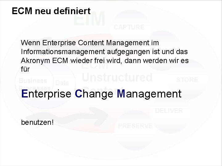 ECM neu definiert Wenn Enterprise Content Management im Informationsmanagement aufgegangen ist und das Akronym