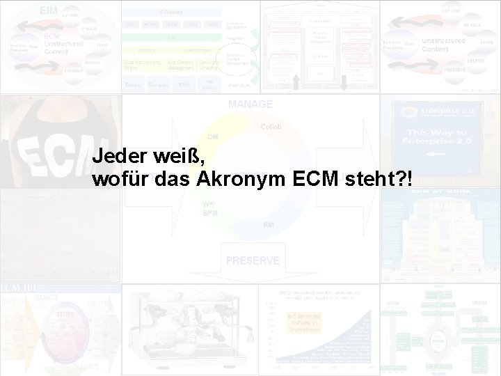 Jeder weiß, wofür das Akronym ECM steht? ! EIM Update und Trends 2010 Dr.