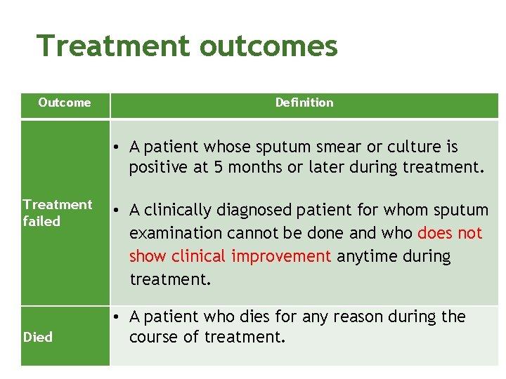 Treatment outcomes Outcome Definition • A patient whose sputum smear or culture is positive