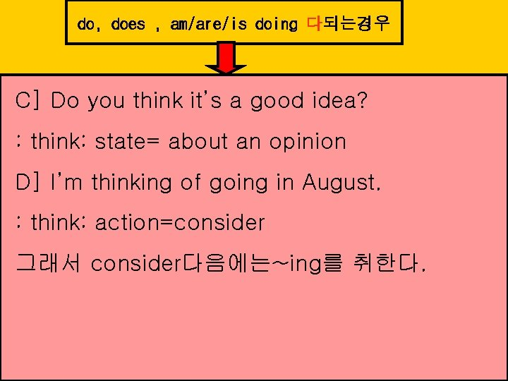 do, does , am/are/is doing 다되는경우 C] Do you think it's a good idea?