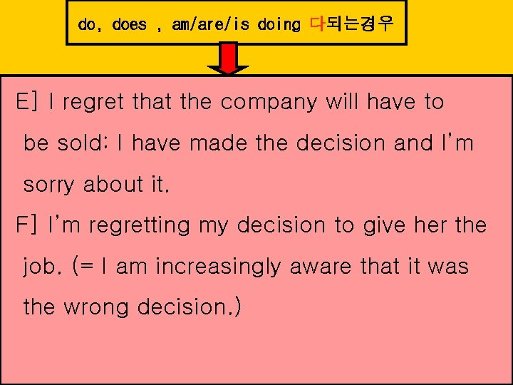 do, does , am/are/is doing 다되는경우 E] I regret that the company will have