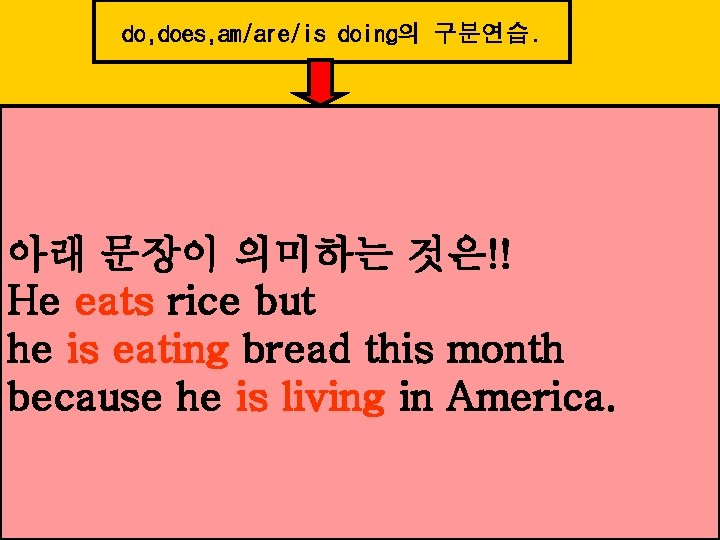 do, does, am/are/is doing의 구분연습. 아래 문장이 의미하는 것은!! He eats rice but he