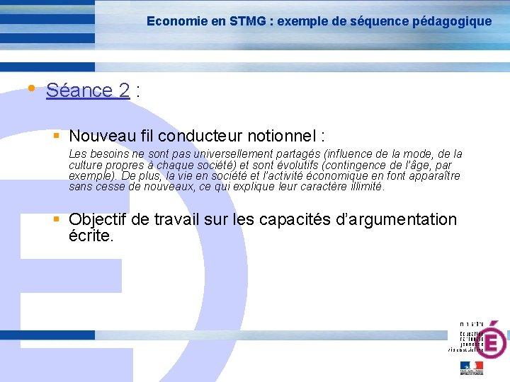 Economie en STMG : exemple de séquence pédagogique • Séance 2 : E Nouveau