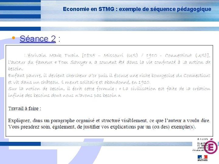 Economie en STMG : exemple de séquence pédagogique • Séance 2 : E 24