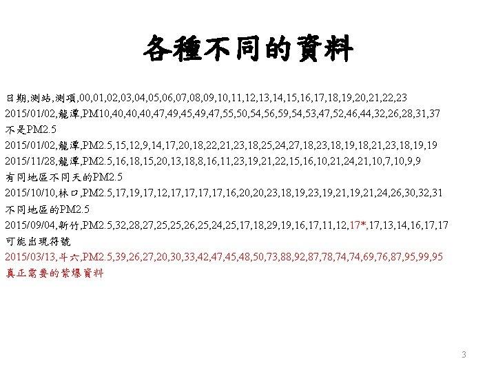 各種不同的資料 日期, 測站, 測項, 00, 01, 02, 03, 04, 05, 06, 07, 08, 09,