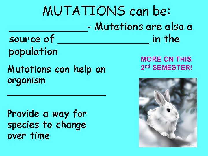 MUTATIONS can be: ______- Mutations are also a source of _______ in the population