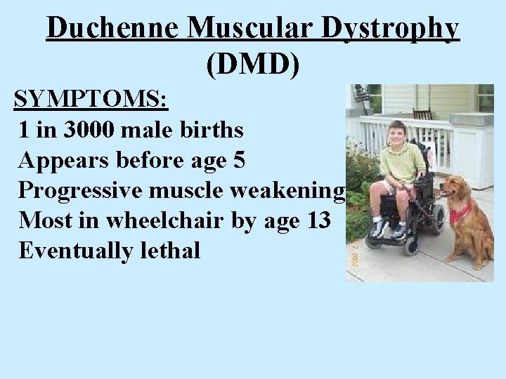 Duchenne Muscular Dystrophy (DMD) SYMPTOMS: 1 in 3000 male births Appears before age 5