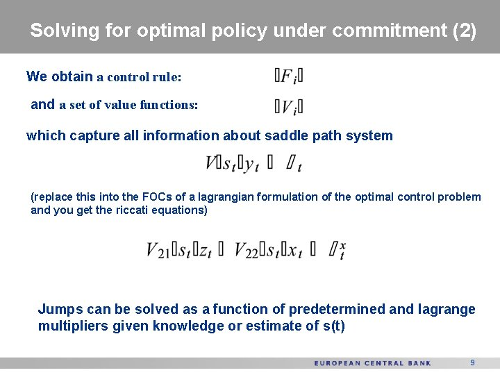 Solving for optimal policy under commitment (2) We obtain a control rule: and a