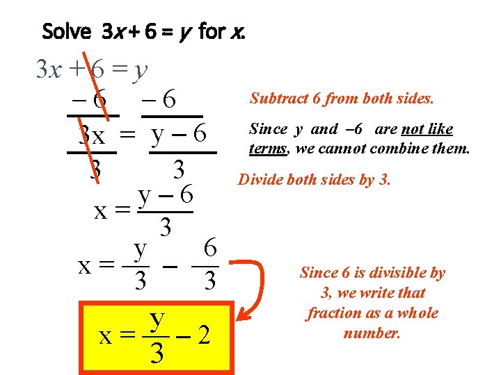 Solve 3 x + 6 = y for x. 3 x + 6 =