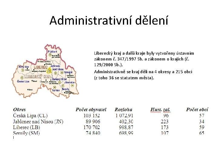 Administrativní dělení Liberecký kraj a další kraje byly vytvořeny ústavním zákonem č. 347/1997 Sb.