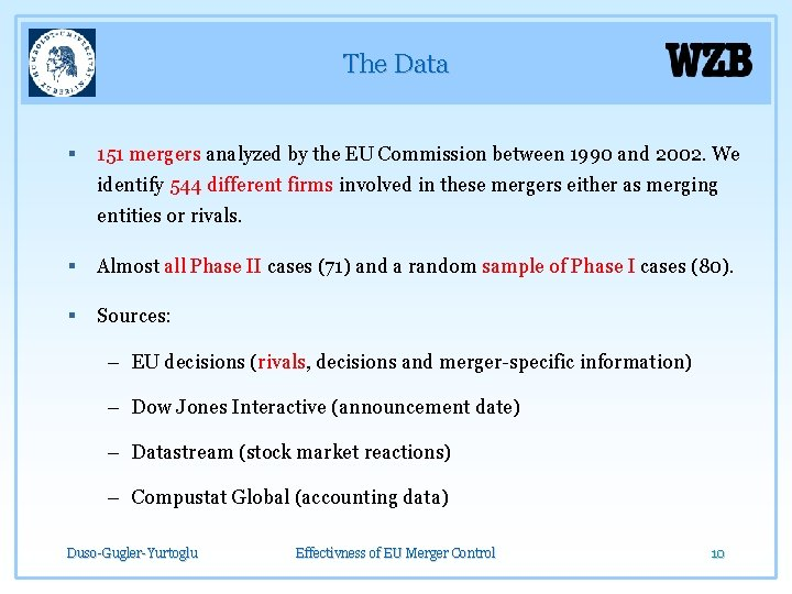 The Data § 151 mergers analyzed by the EU Commission between 1990 and 2002.