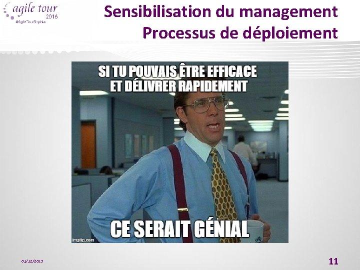 Sensibilisation du management Processus de déploiement 01/12/2015 11