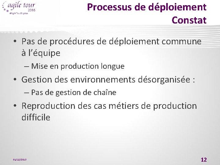 Processus de déploiement Constat • Pas de procédures de déploiement commune à l'équipe –