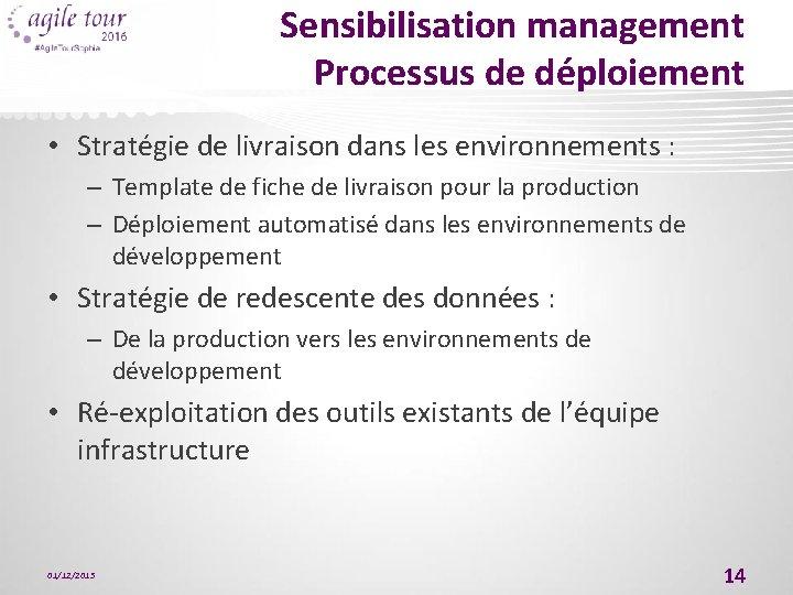 Sensibilisation management Processus de déploiement • Stratégie de livraison dans les environnements : –