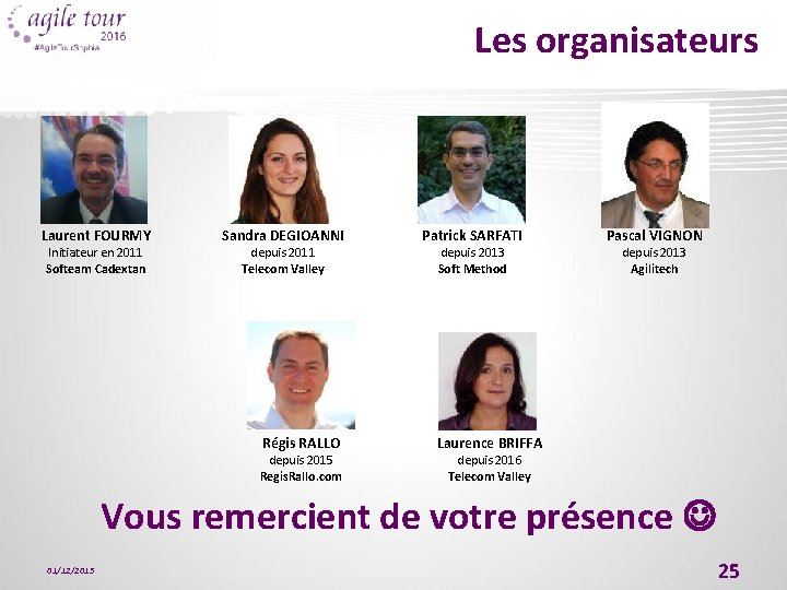 Les organisateurs Laurent FOURMY Initiateur en 2011 Softeam Cadextan Sandra DEGIOANNI depuis 2011 Telecom