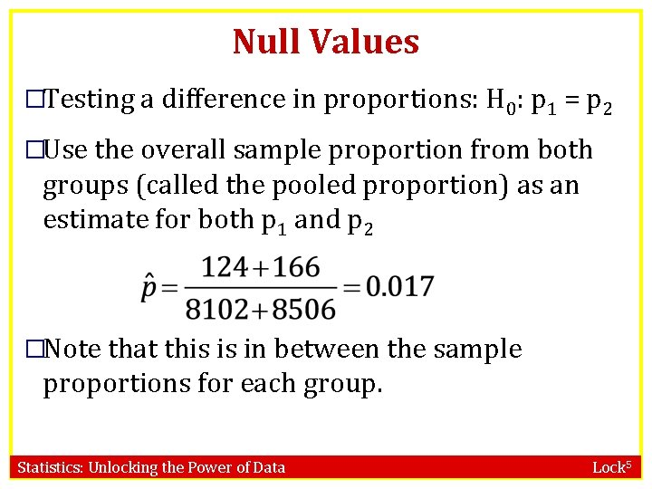 Null Values �Testing a difference in proportions: H 0: p 1 = p 2