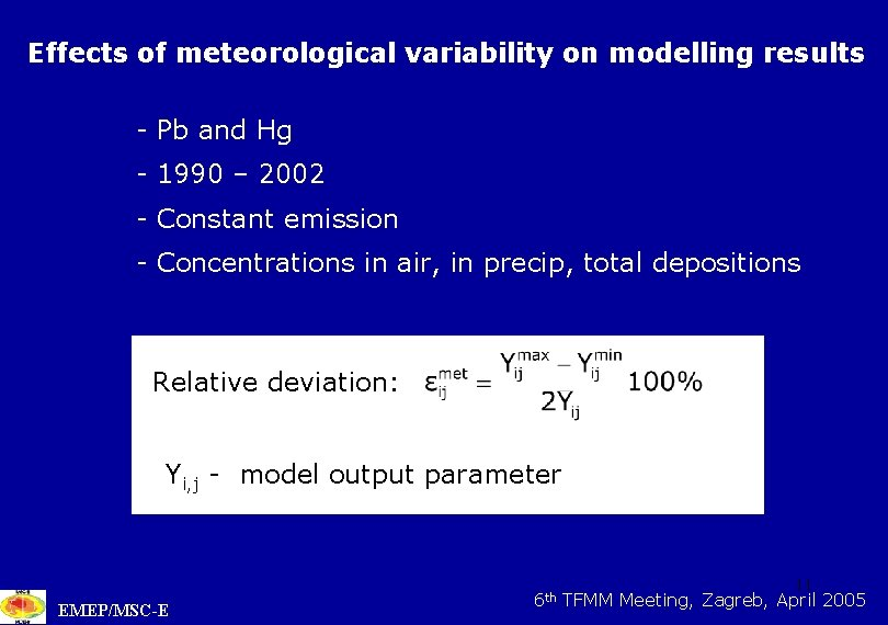Effects of meteorological variability on modelling results - Pb and Hg - 1990 –