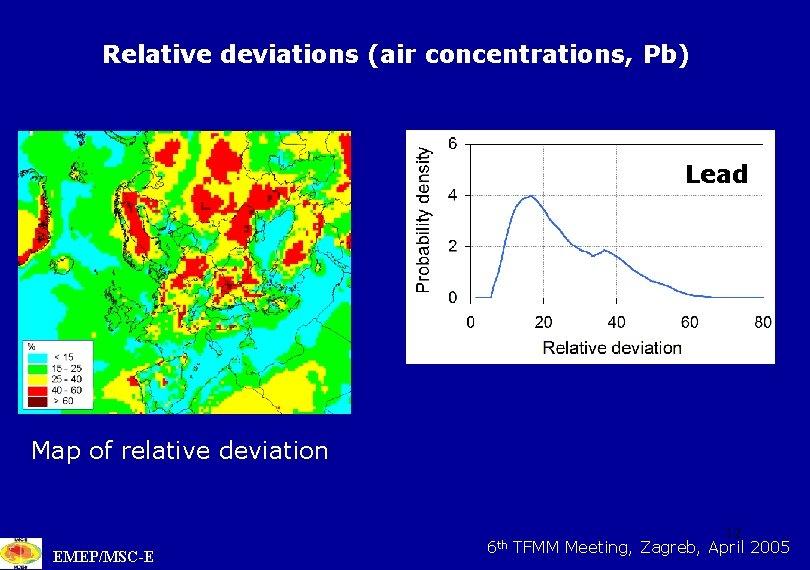 Relative deviations (air concentrations, Pb) Lead Map of relative deviation EMEP/MSC-E 6 th 12