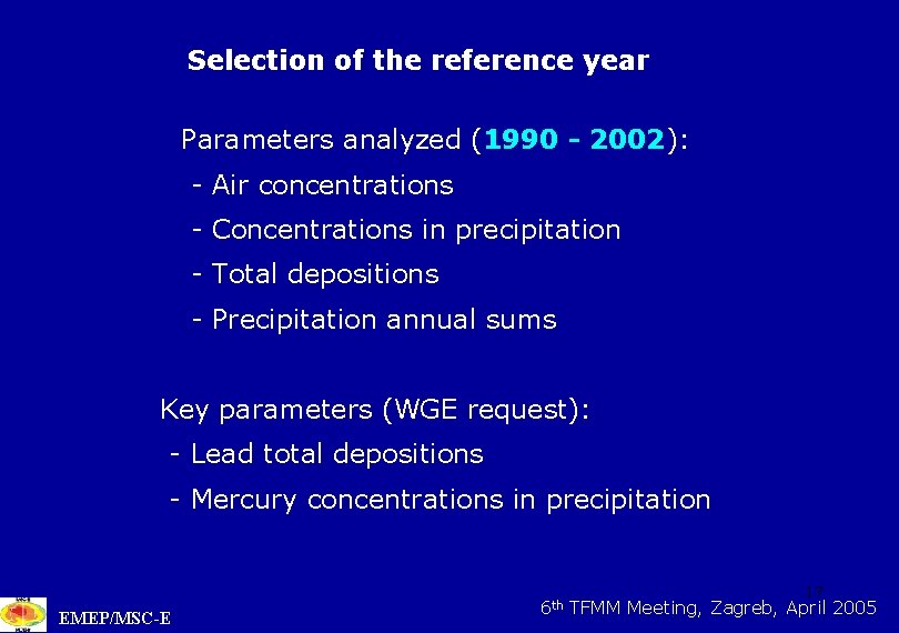 Selection of the reference year Parameters analyzed (1990 - 2002): - Air concentrations -