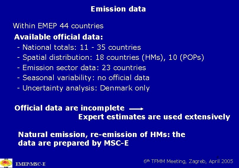 Emission data Within EMEP 44 countries Available official data: - National totals: 11 -
