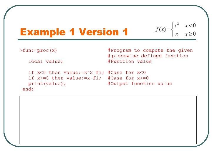 Example 1 Version 1