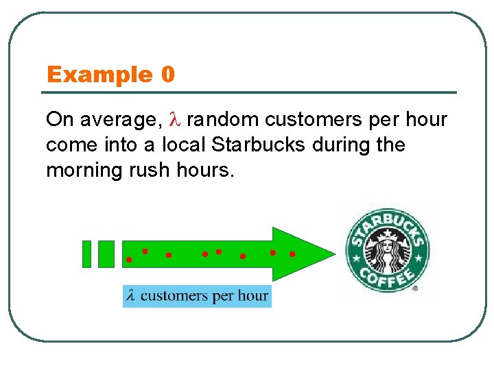 Example 0 On average, random customers per hour come into a local Starbucks during