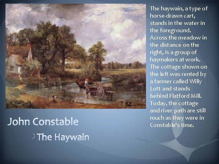 The haywain, a type of horse-drawn cart, stands in the water in the foreground.