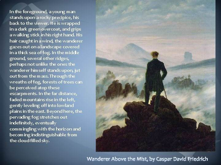 In the foreground, a young man stands upon a rocky precipice, his back to