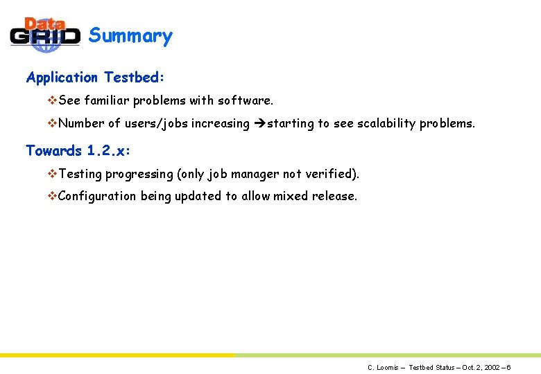 Summary Application Testbed: v. See familiar problems with software. v. Number of users/jobs increasing