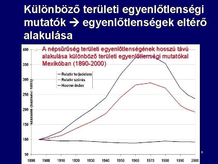 Különböző területi egyenlőtlenségi mutatók egyenlőtlenségek eltérő alakulása n A népsűrűség területi egyenlőtlenségének hosszú távú