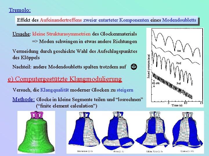 Tremolo: Effekt des Aufeinandertreffens zweier entarteter Komponenten eines Modendoubletts Ursache: kleine Strukturasymmetrien des Glockenmaterials