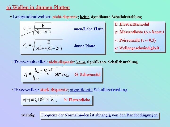 a) Wellen in dünnen Platten • Longitudinalwellen: nicht-dispersiv; keine signifikante Schallabstrahlung E: Elastizitätsmodul unendliche