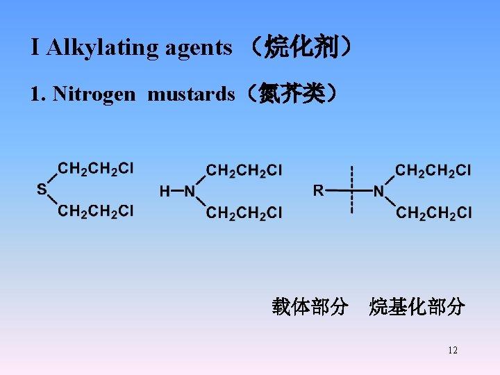 I Alkylating agents (烷化剂) 1. Nitrogen mustards(氮芥类) 载体部分 烷基化部分 12