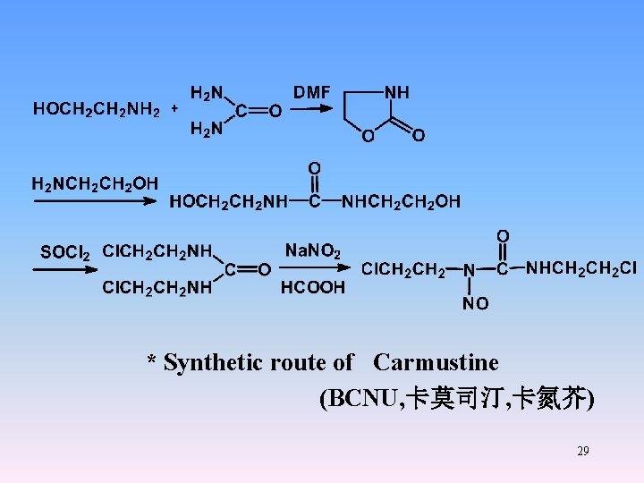 * Synthetic route of Carmustine (BCNU, 卡莫司汀, 卡氮芥) 29