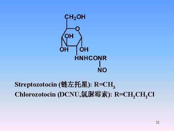 Streptozotocin (链左托星): R=CH 3 Chlorozotocin (DCNU, 氯脲霉素): R=CH 2 Cl 32