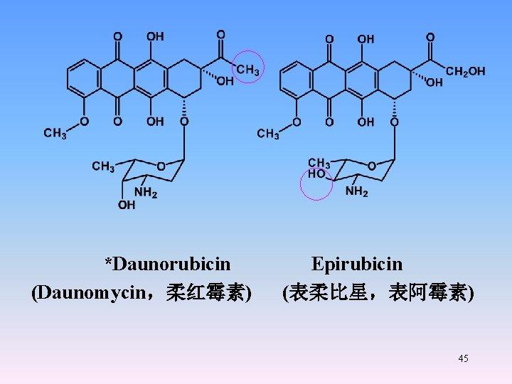 *Daunorubicin Epirubicin (Daunomycin,柔红霉素) (表柔比星,表阿霉素) 45