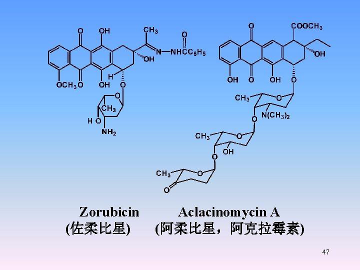 Zorubicin Aclacinomycin A (佐柔比星) (阿柔比星,阿克拉霉素) 47