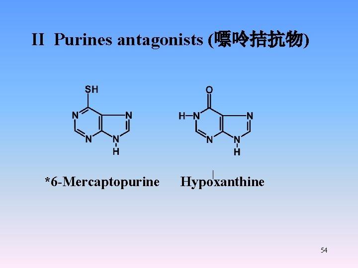 II Purines antagonists (嘌呤拮抗物) *6 -Mercaptopurine Hypoxanthine 54