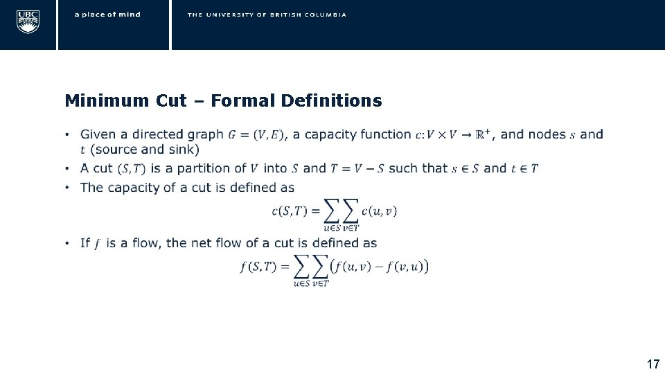 Minimum Cut – Formal Definitions • 17