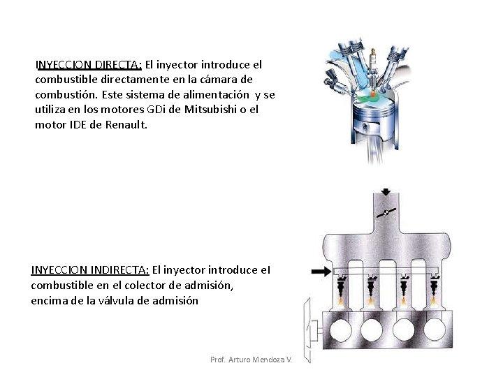INYECCION DIRECTA: El inyector introduce el combustible directamente en la cámara de combustión. Este