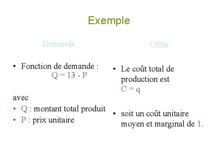 Exemple Demande Offre • Fonction de demande : • Le coût total de Q