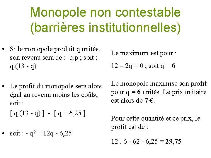 Monopole non contestable (barrières institutionnelles) • Si le monopole produit q unités, son revenu