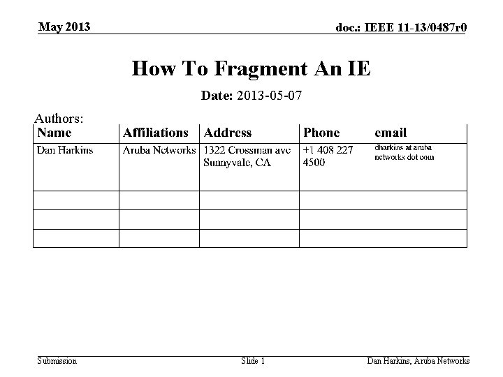 May 2013 doc. : IEEE 11 -13/0487 r 0 How To Fragment An IE